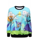 Fighting Cartoon Figure Print Round Neck Long Sleeve Sweatshirt