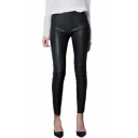 New Arrival Leather Solid Color Skinny Leggings