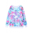 Dreamlike Colorful Horse Print Sweatshirt with Round Neck