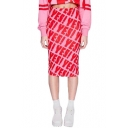 Harajuku Pink Letter Print Midi Tube Skirt