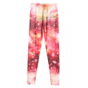 Fitted Starry Sky Print Elastic Waist Pants
