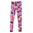 Camouflage Print Elastic Waist Fitted Cotton Pants