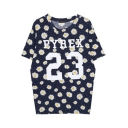 Letter and Floral Print Round Neck Short Sleeve Tee