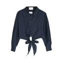 Plain Bows Tow Piece in One Long Sleeve Blouse