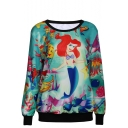 Cartoon Mermaid Print Round Neck Long Sleeve Sweatshirt