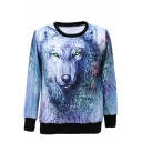 Wolf Head Print Round Neck Long Sleeve Sweatshirt