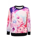 Beauty and Cat Print Round Neck Long Sleeve Sweatshirt