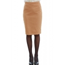 Plain Zipper Fly Detial Pencil Midi Skirt