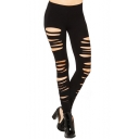 Skinny Elastic Fitted Cutout High Waist Leggings