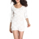Plain Lace Insert 3/4 Sleeve Romper with Knotted Open Back