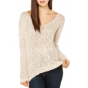 Plain Split High Low Hem Sweater with V-Neck