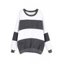 Stripe Pattern Longline Sweatshirt with Batwing