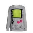 Cute Print Round Neck Long Sleeve Sweatshirt