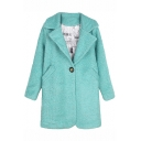 Plain Notched Lapel Wool Coat with Single Button