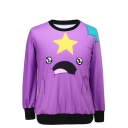 Cartoon Star and Figure Print Round Neck Long Sleeve Sweatshirt