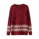 Cable Knitted Geometric Hem Round Neck Sweater