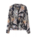 Abstract Print Round Neck Zippered Pockets Jacket