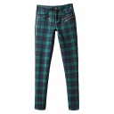 Plaid Print Golden Zipper Pockets Pencil Pants