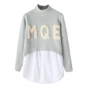 Fake Two-piece Letter Applique High Collar Sweater with Shirt Insert