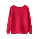 Plain Rib&Cable Knit Raglan Sleeve Sweater with Round Neck