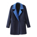 Classic Contrast Trim Single Button Wool Coat with Notched Lapel