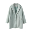 Green Woolen Plain Lapel Collar Single-Breast Pockets Coat