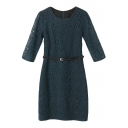 Plain Lace Belted Round Neck 3/4 Sleeve Zippered Skinny Dress