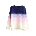 Vintage Ombre Cable Knitted Thick Sweater with Dip Hem