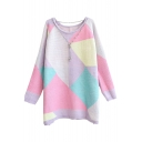 Geometric Style Color Block Candy Color Round Neck Long Sleeve Sweater