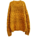 Yellow Color Mix Thread Long Sleeve Mohair Knitting Needle Sweater with Round Neck