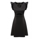 Black Fitted Cutout Front Agaric Trim Fit$Fare Dress