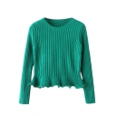 Plain Round Neck Long Sleeve Cable Knitted Sweater with Flared Hem