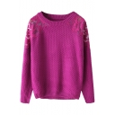 Lace Illusion Shoulder Plain Long Sleeve Sweater with Round Neckline
