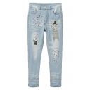 Embroidered Cartoon Rabbit Faded Loose Harem Jeans with Scratch