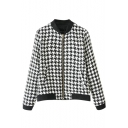 Houndertooth Print Zippered Stan-Up Collar Pockets Jacket
