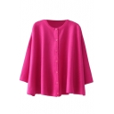 3/4 Sleeve Button Fly Cardigan with Round Neck in Loose Fit