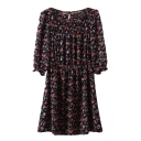 Round Neck 3/4 Puff Sleeve Floral Print Elastic Gathered Waist Dress