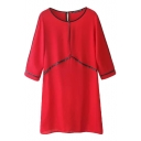 Red Color Block Zipper Back Round Neck 3/4 Sleeve Chiffon Dress
