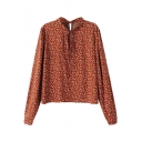 Dark Orange Background Floral Print Scallop Neck with Drawstring Long Sleeve Blouse