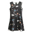 Fashionable Cartoon and Floral Print Round Neck Tank Dress with Draped Hem
