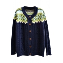 Geo-Tribal Pattern Shoulder Color Block Style Cable Knit Button Fly Cardigan