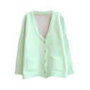 Fresh Mint Green V-Neck Cardigan with Pockets Embellished