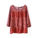 Red Round Neck Floral Print 3/4 Sleeve Pullover Blouse