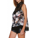 Floral Print Sleeveless Top with Embroidered Crochet Neck and Hem