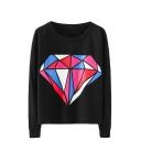 Colorful Diamond Print Round Neck Drop Sleeve Sweatshirt