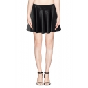 Plain High Waist Leather Fitted Full Skirt with Back Zipper