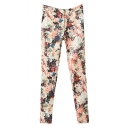 Gorgeous Ombre Flower Print Zipper Fly Ankle Length Straight Leg Pants