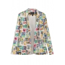 Notched Lapel Single Button Blazer with Stamp Print