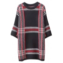 Plaid Color Block Round Neck 3/4 Sleeve Tunic Sweater in Loose Fit