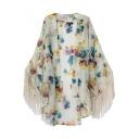 Cream Background Rural Floral Print Style Longline Kimono with Tassel Hem